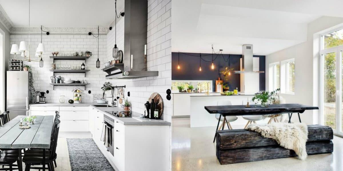 Кухня в скандинавском стиле: стол