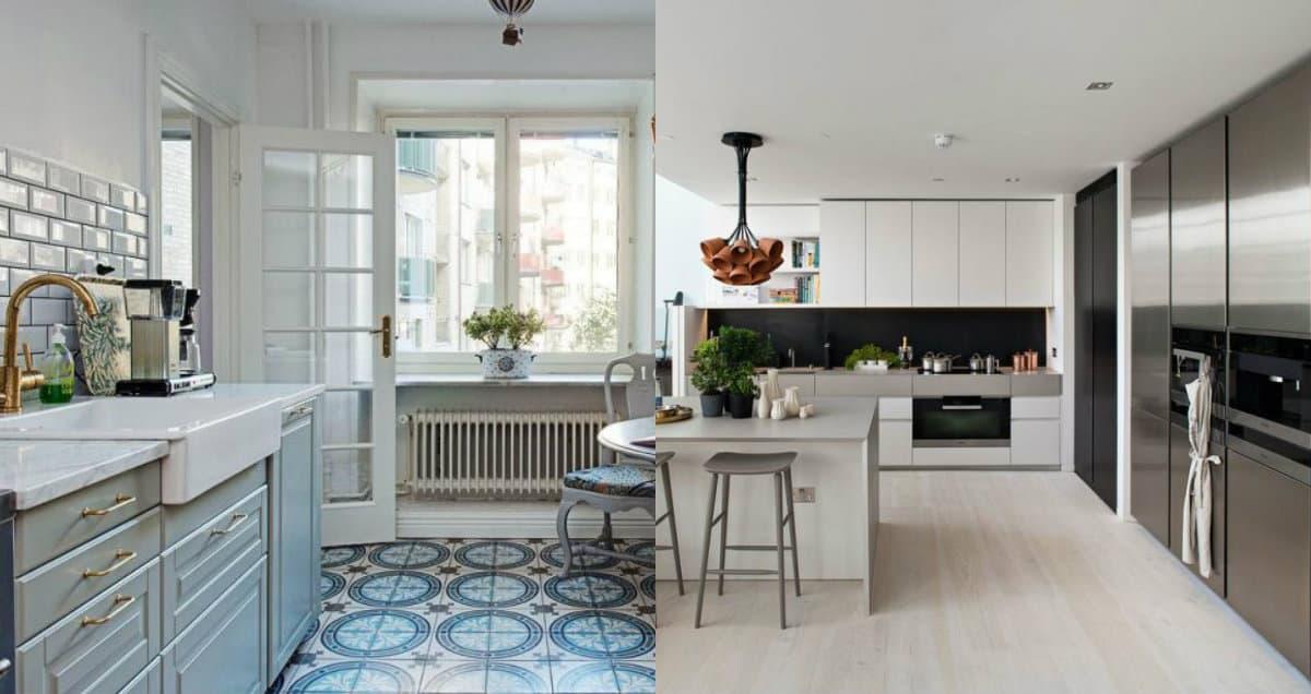 Кухня в скандинавском стиле: плитка на полу