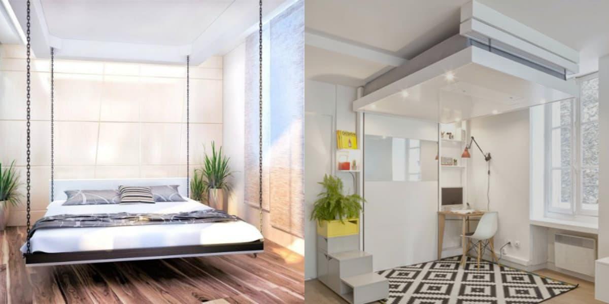 спальня в современном стиле: подвесная кровать