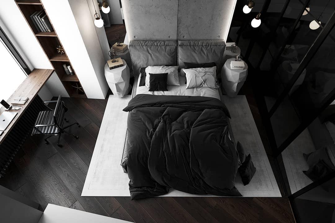 черно-белая-спальня