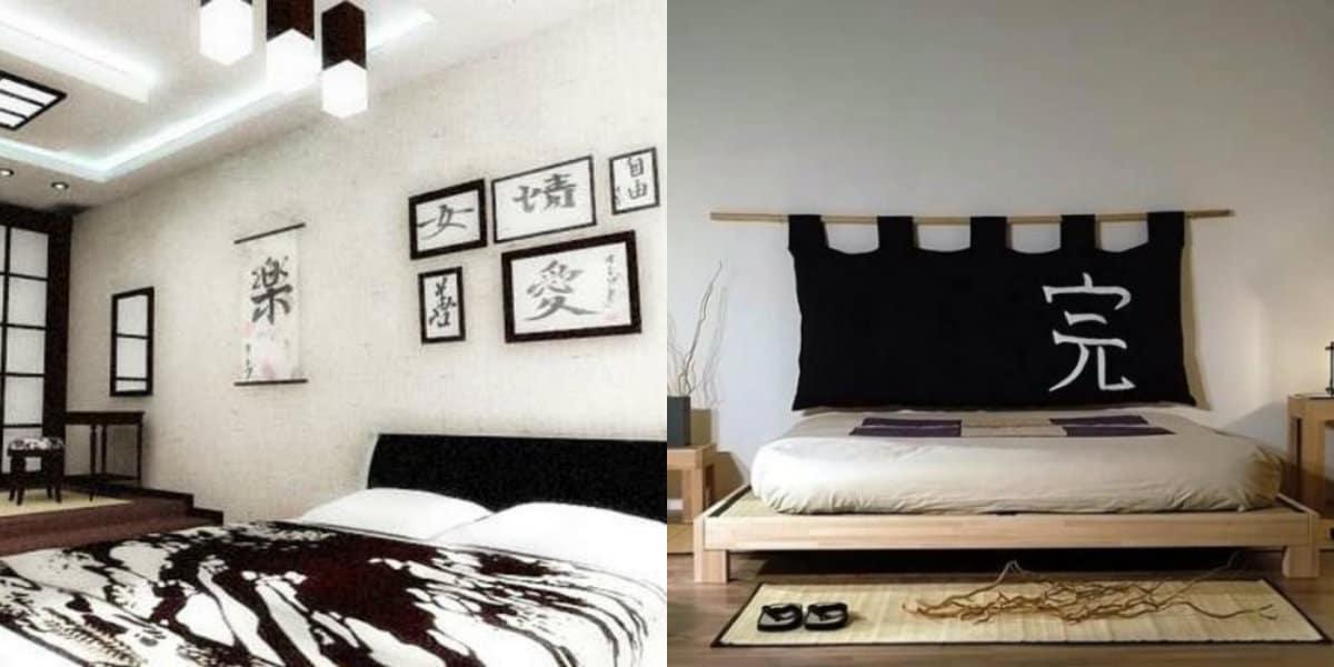 Черно белый интерьер спальни: японский интерьер