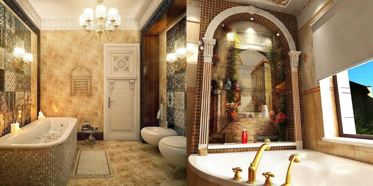 Ванная в итальянском стиле: фреска
