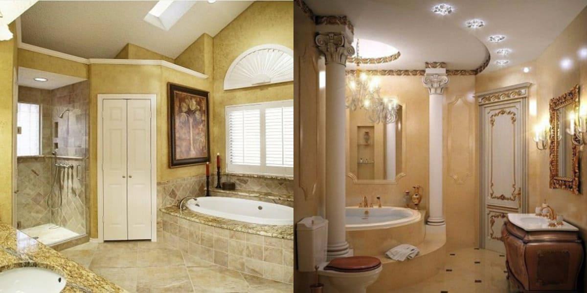 Ванная в итальянском стиле: колонны