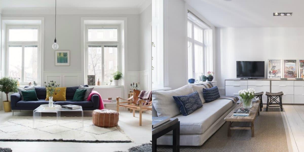 Гостиная в скандинавском стиле: диваны