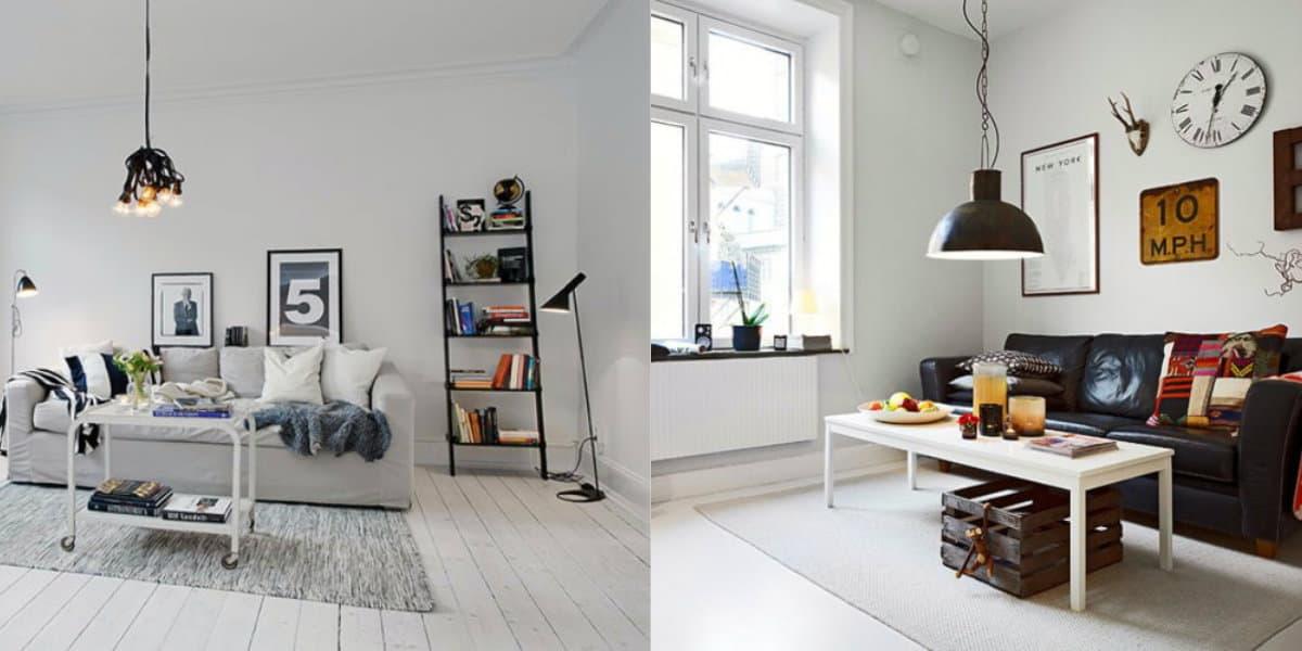 Гостиная в скандинавском стиле: окна