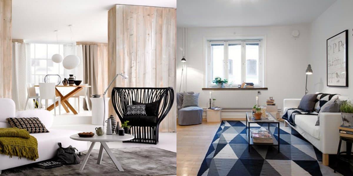 Гостиная в скандинавском стиле: деревянные панели