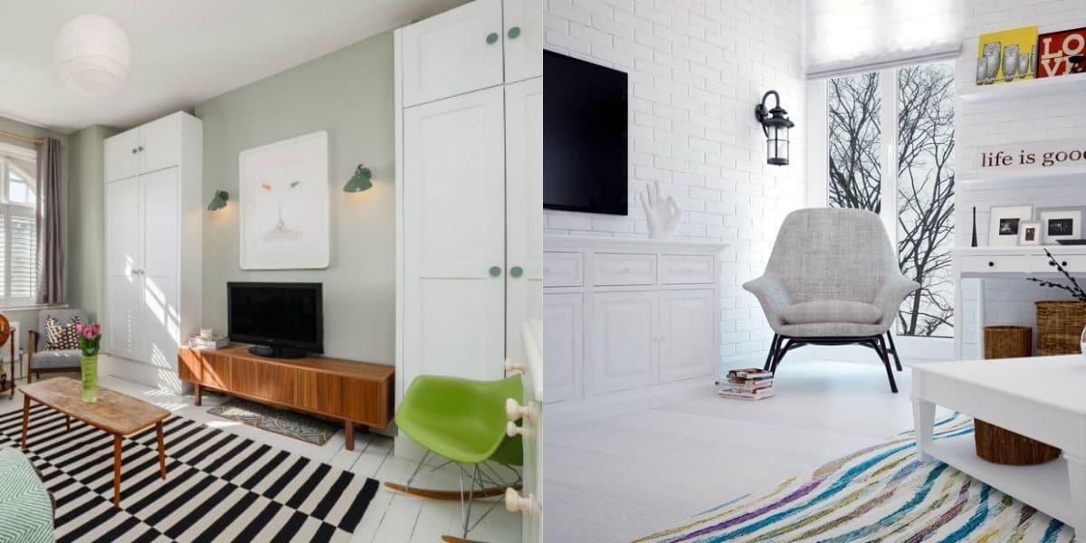 Гостиная в скандинавском стиле: белое оформление