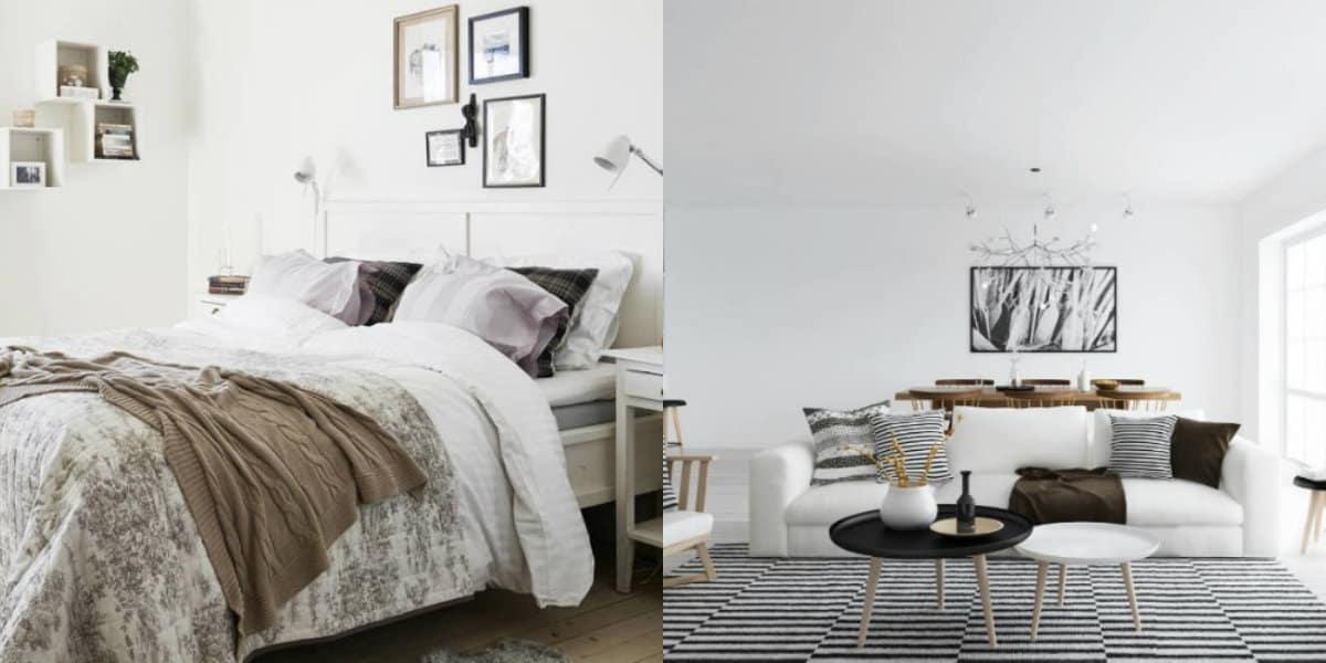 Интерьер в скандинавском стиле: кровать с покрывалом