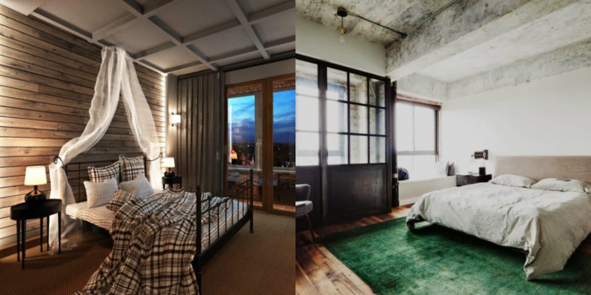 Интерьер в стиле Лофт: кровать