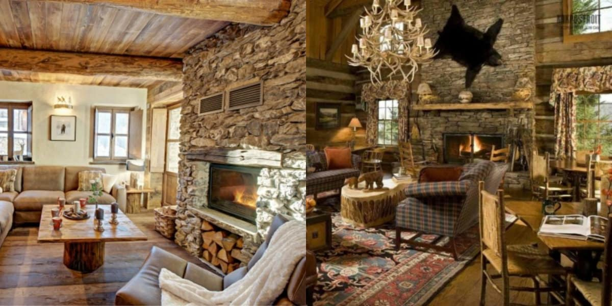 Интерьер деревенского дома: камень в отделке