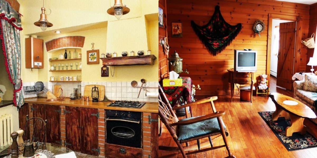 Интерьер деревенского дома: платки