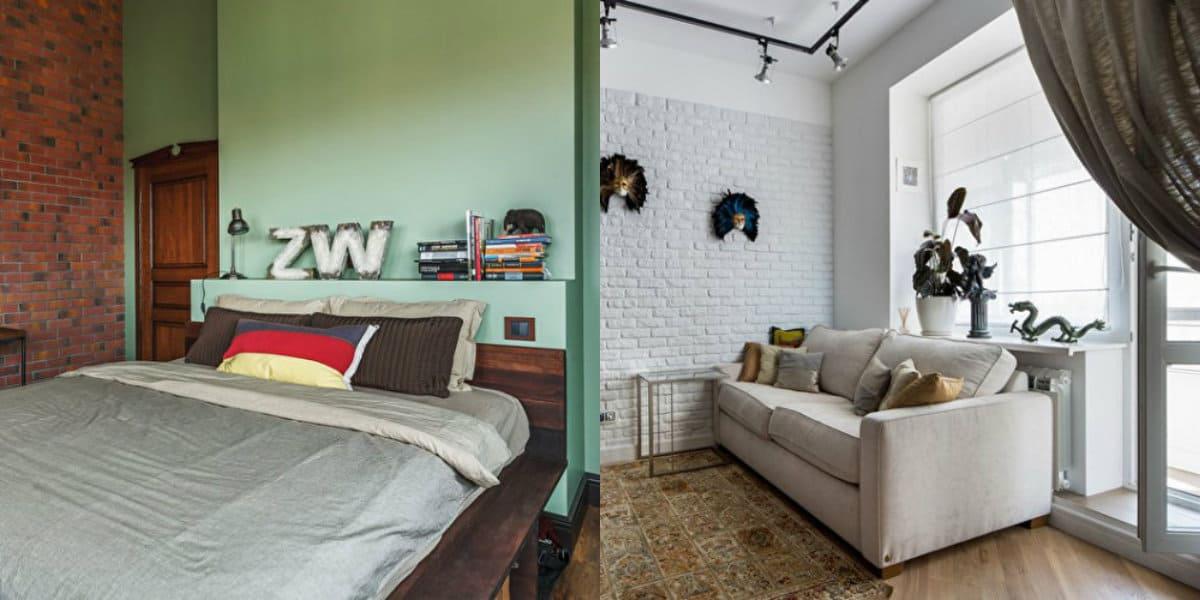 Квартира в стиле Лофт: кровать