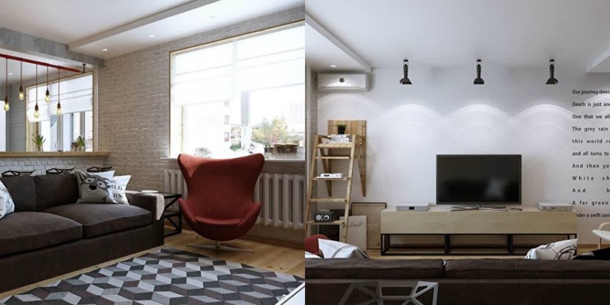 Квартира в стиле Лофт: мягкая мебель