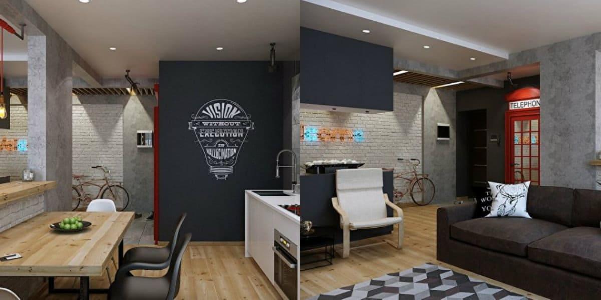 Квартира в стиле Лофт: гостиная и кухня