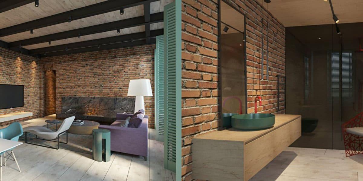 Квартира в стиле Лофт: ванная