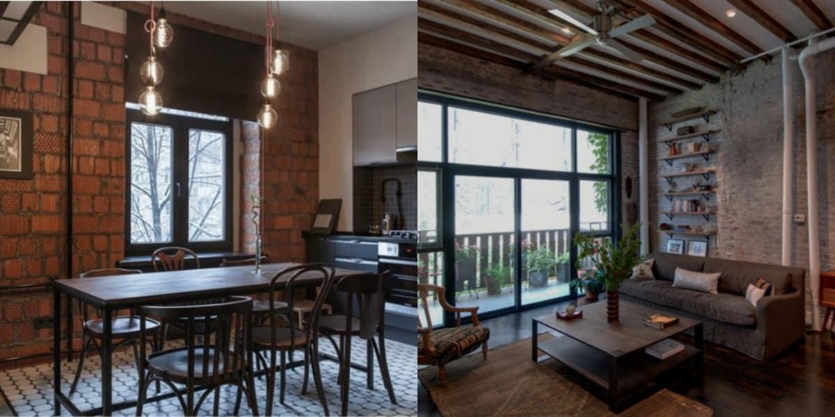 Комната в стиле Лофт: столовая