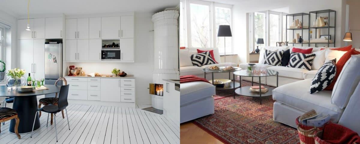 Скандинавский стиль дома: гостиная