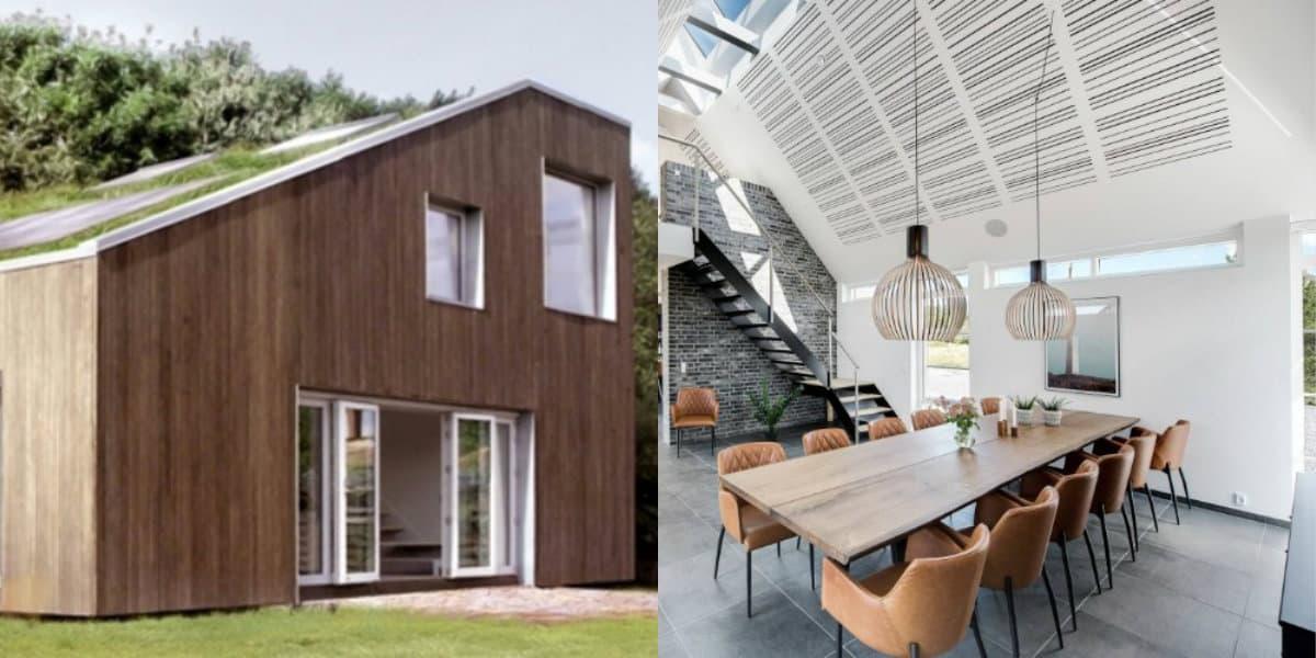 Скандинавский стиль дома: высокий потолок
