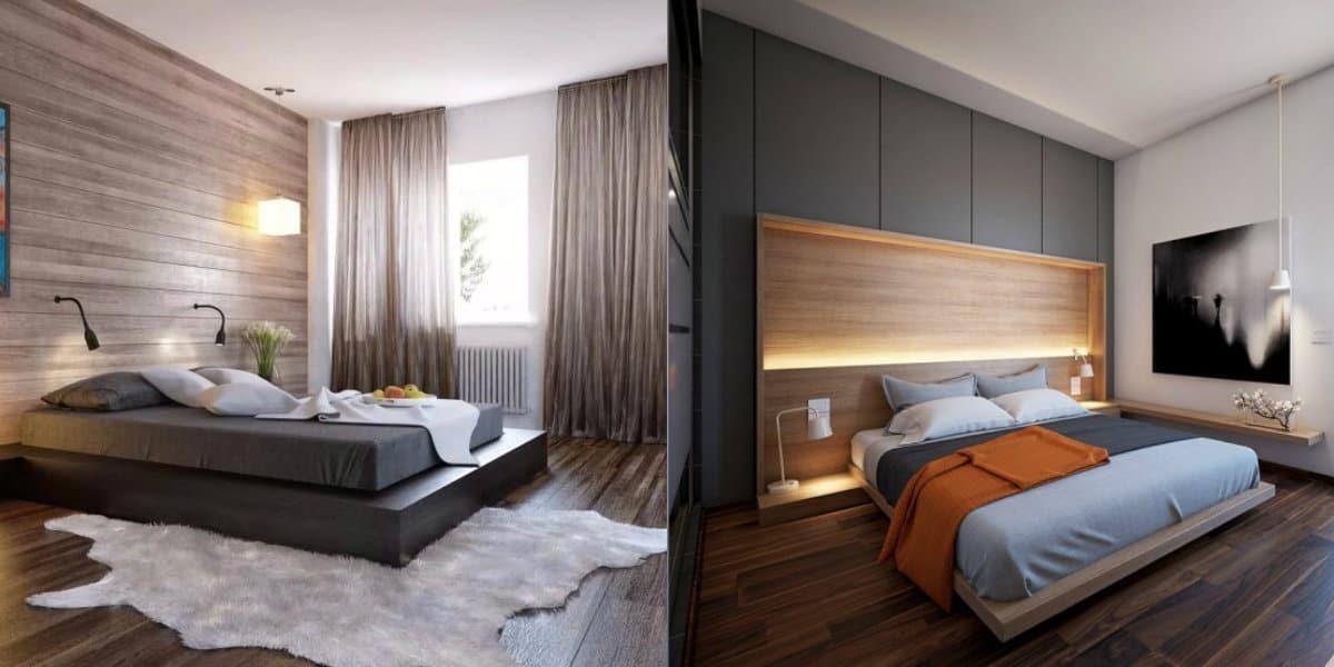 Современный дизайн спальни: дерево в отделке