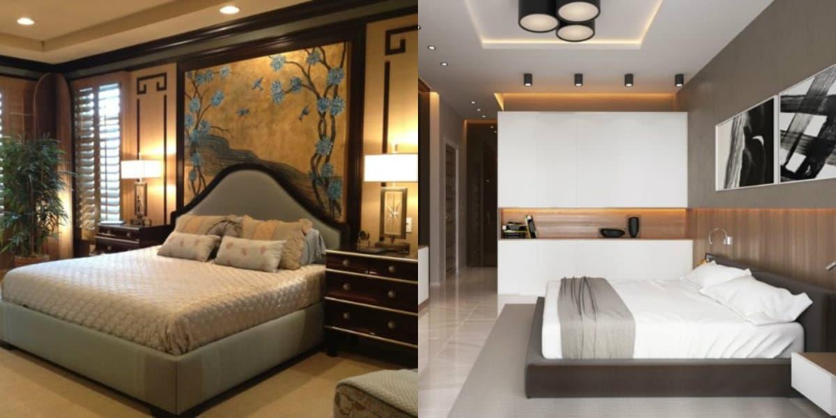 Современный дизайн спальни: черно-белый интерьер