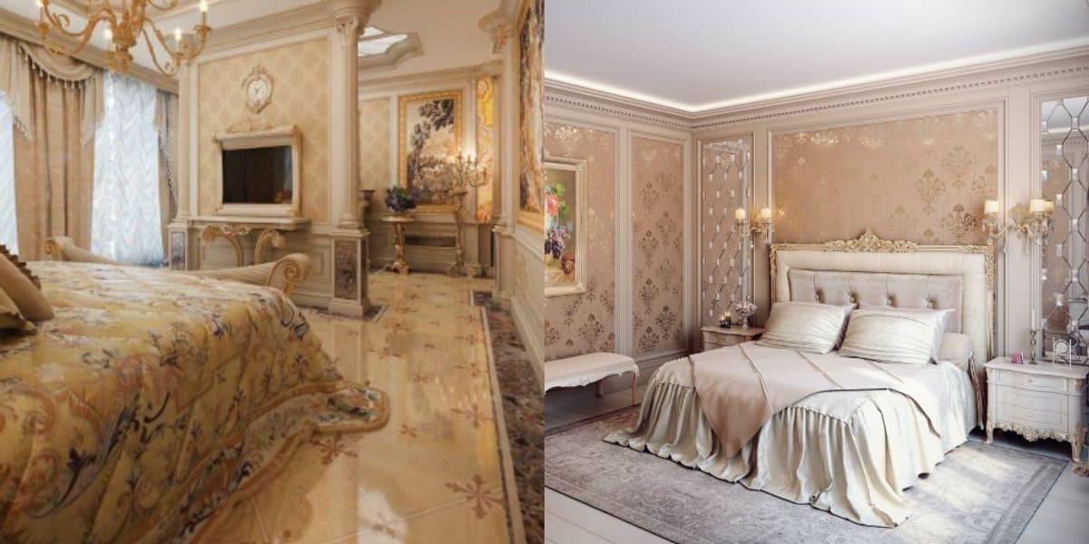 Спальня в классическом стиле : телевизонная панель в интерьере