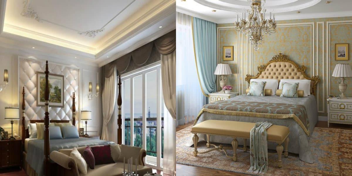 Спальня в классическом стиле : пилястры и молдинги