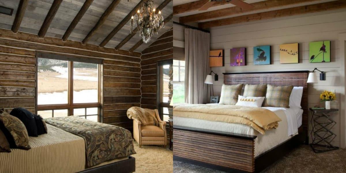 Спальня в стиле Кантри: балки на потолке