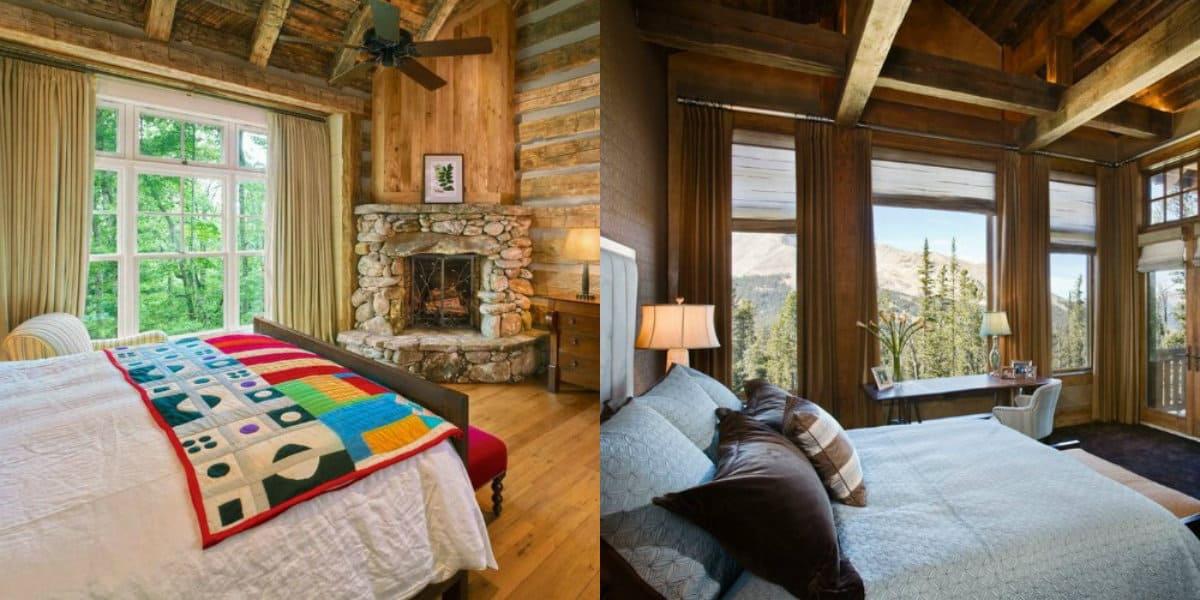Спальня в стиле Кантри: деревянная отделка