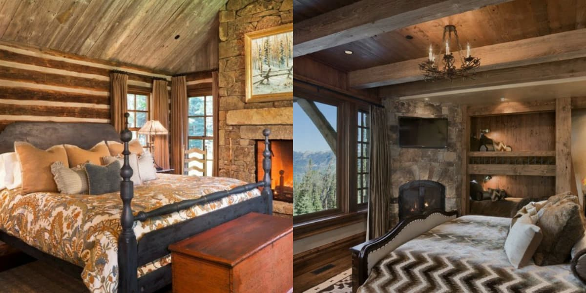Спальня в стиле Кантри: камин