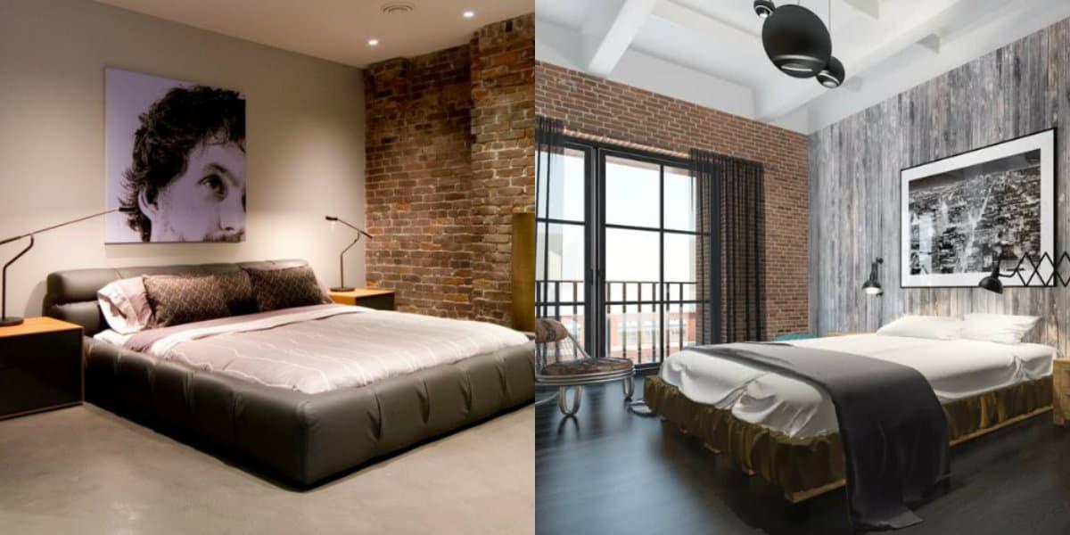 Спальня в стиле Лофт: отделка стен