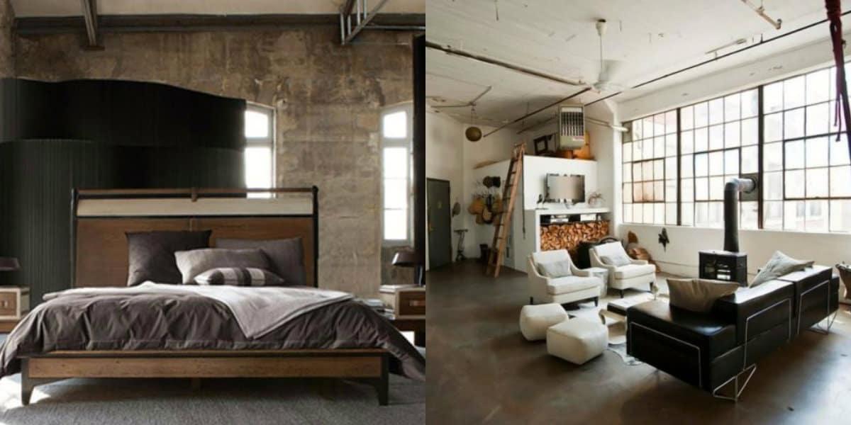 Спальня в стиле Лофт: покрывало
