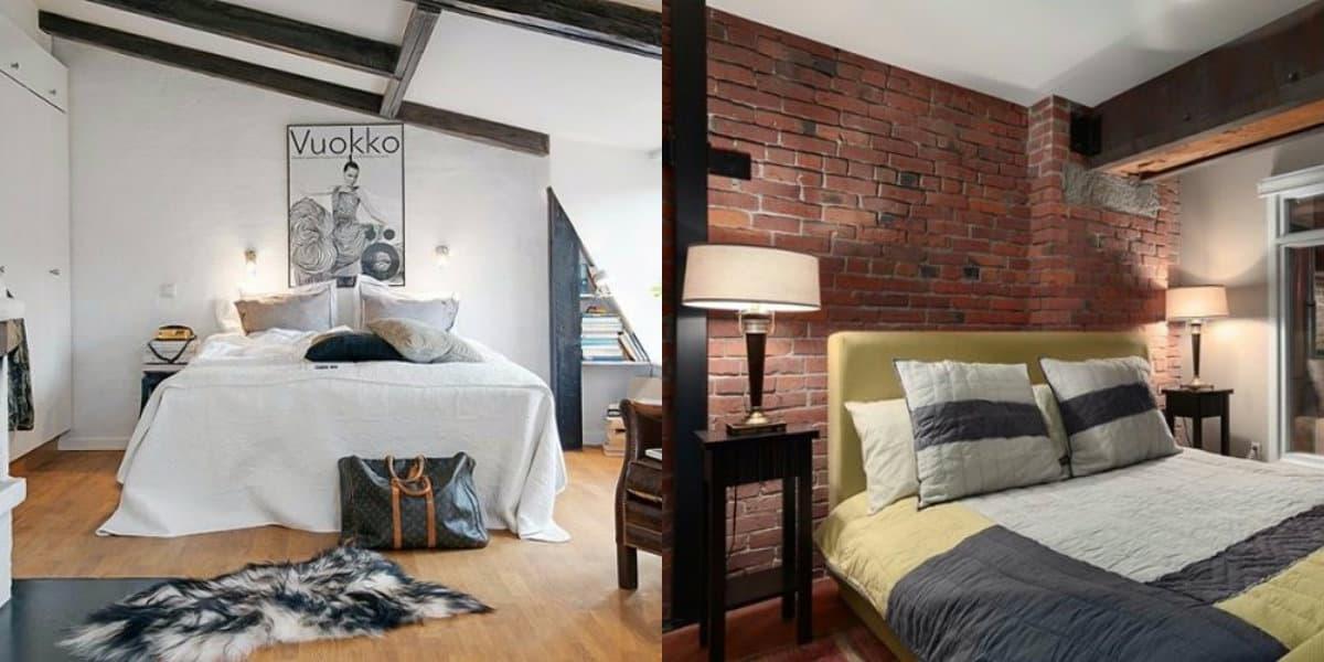 Спальня в стиле Лофт: оформление кровати