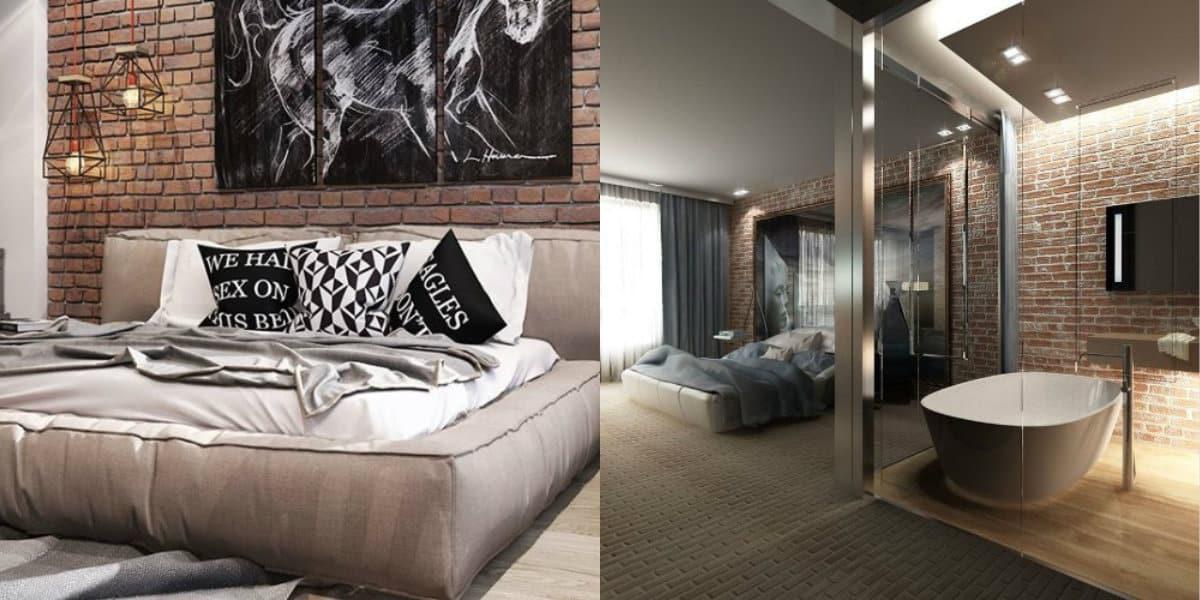 Спальня в стиле Лофт: картина на стене