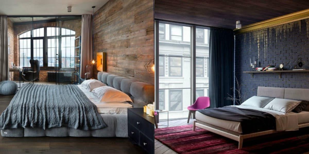 Спальня в стиле Лофт: декор окон