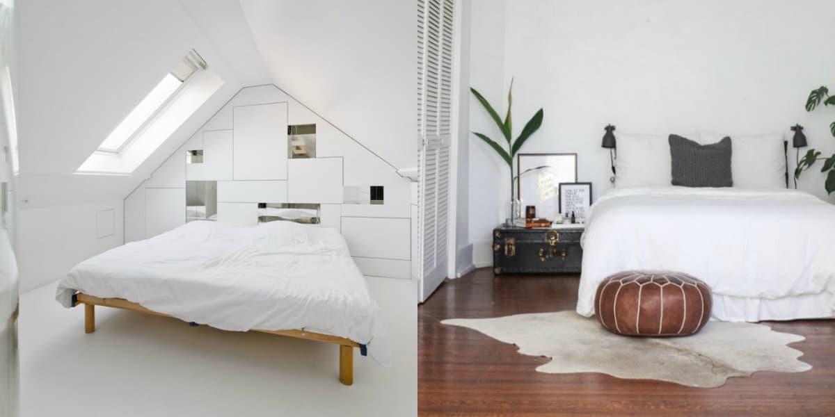 Спальня в стиле минимализм: белый интерьер