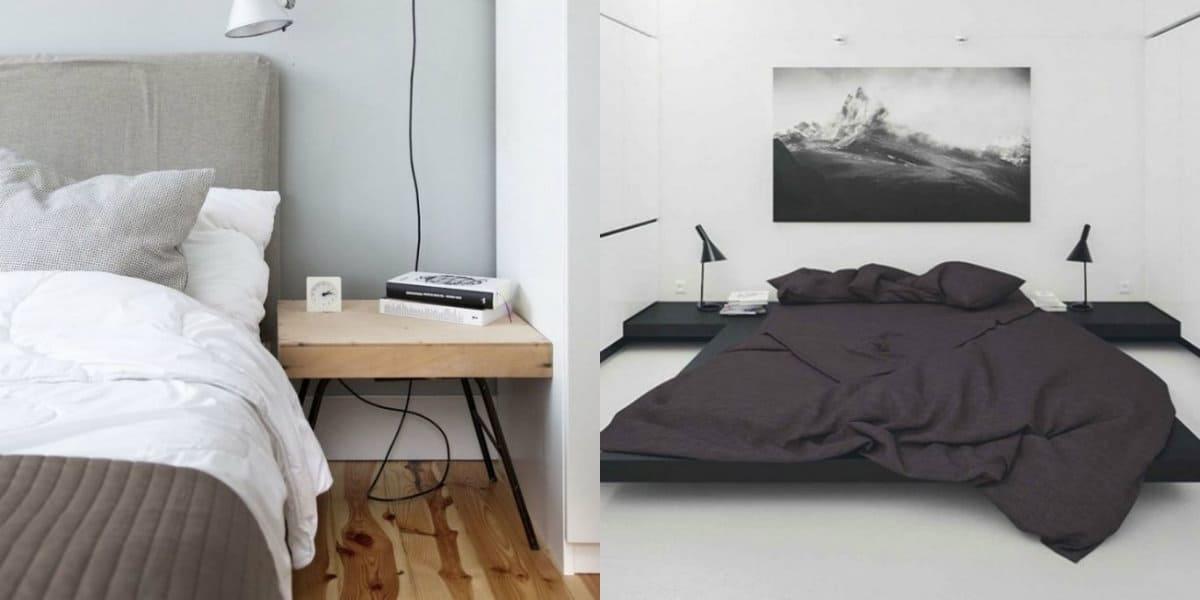 Спальня в стиле минимализм: черная кровать