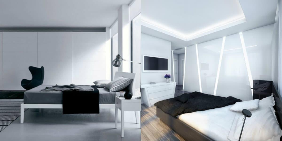 Спальня в стиле хай тек: белый интерьер