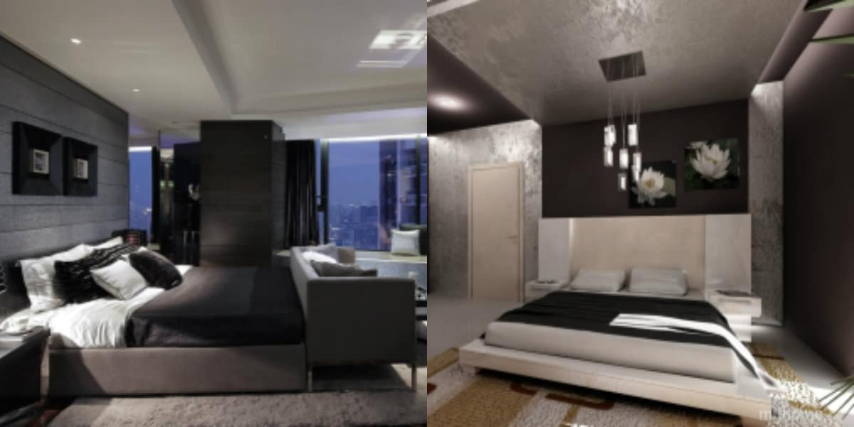 Спальня в стиле хай тек: темный интерьер