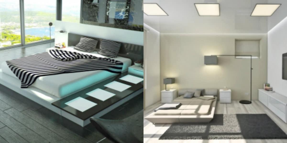 Спальня в стиле хай тек: световое оформление