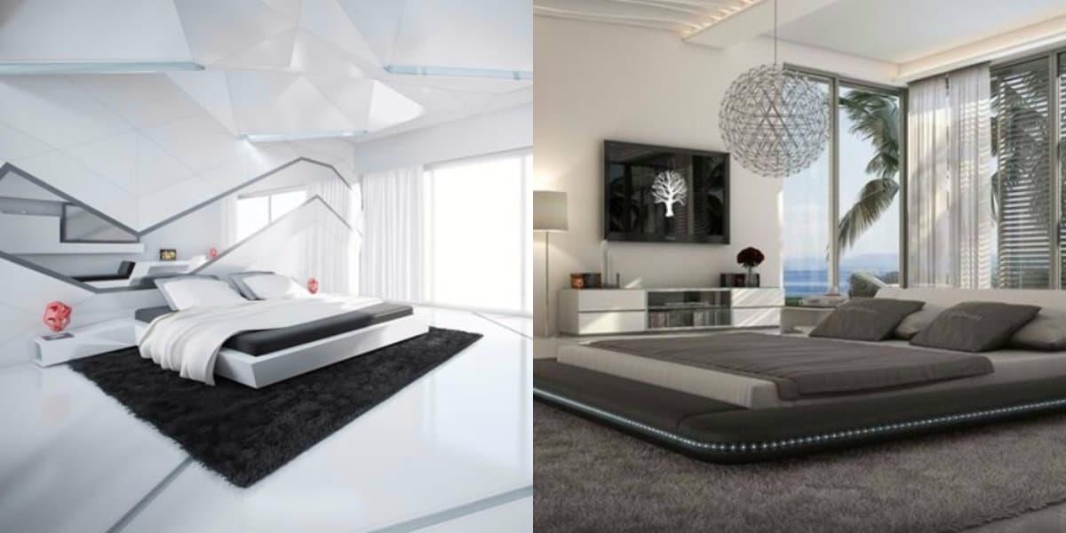 Спальня в стиле хай тек: навесной потолок