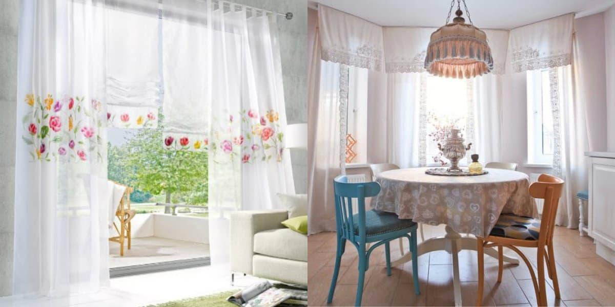 Шторы в деревенском стиле: белые шторы