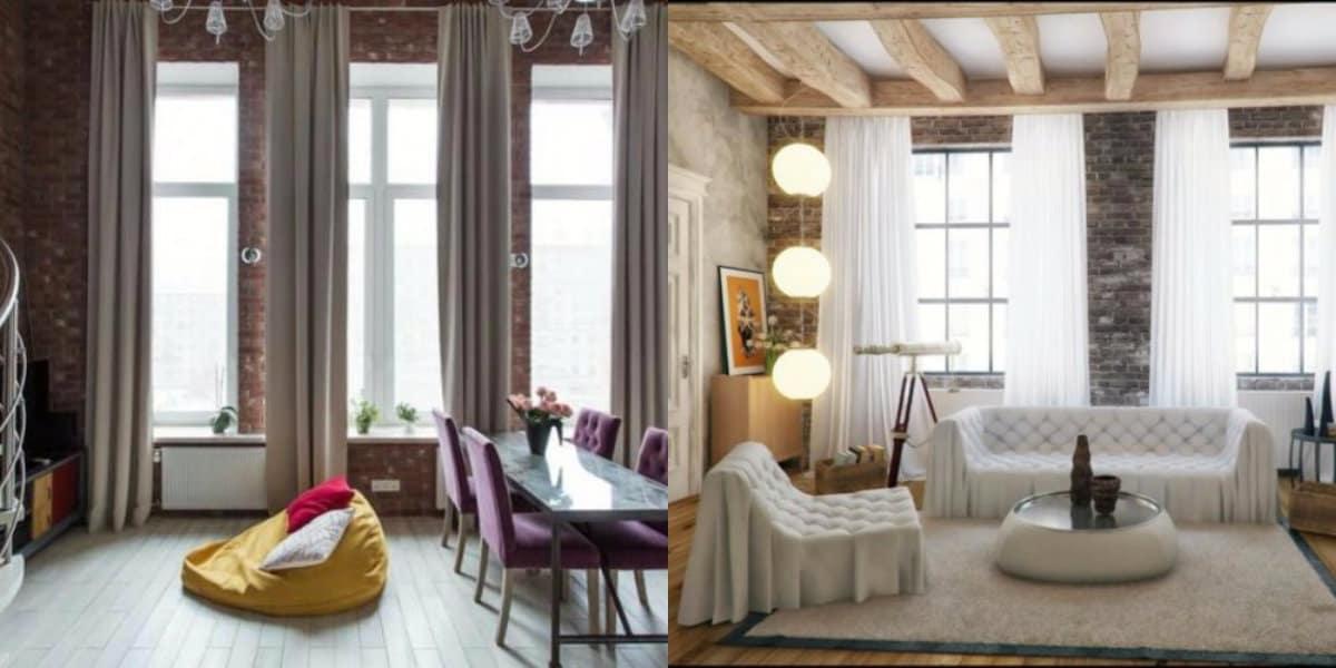 Шторы в стиле Лофт: гостиная