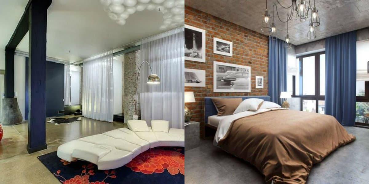 Шторы в стиле Лофт: шторы для спальни