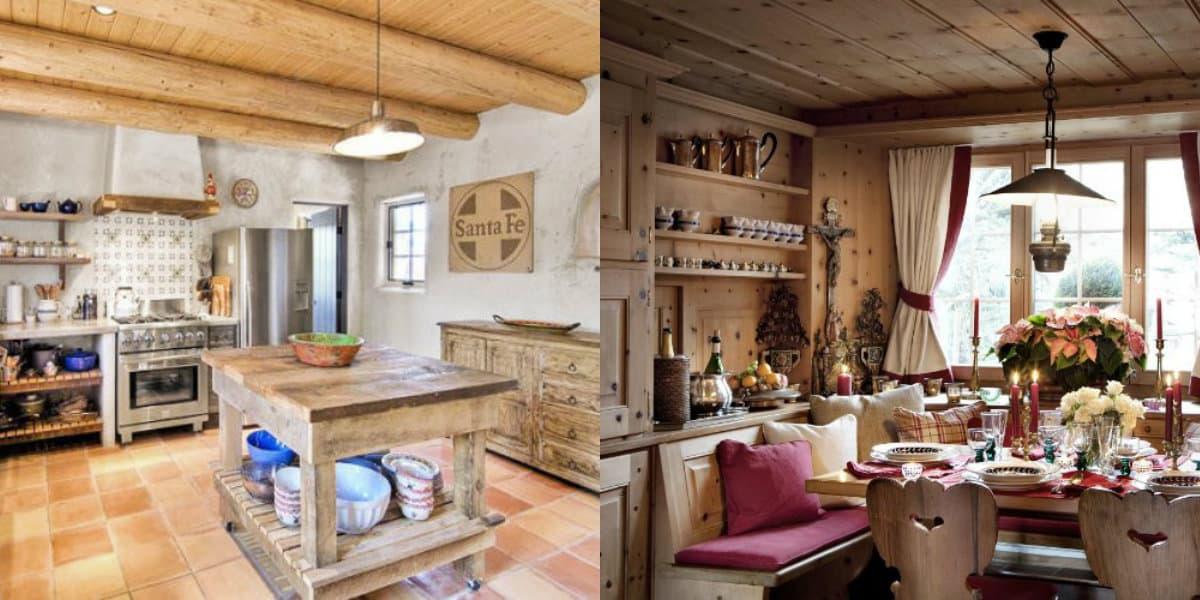 Дома в стиле Кантри: интерьер кухни
