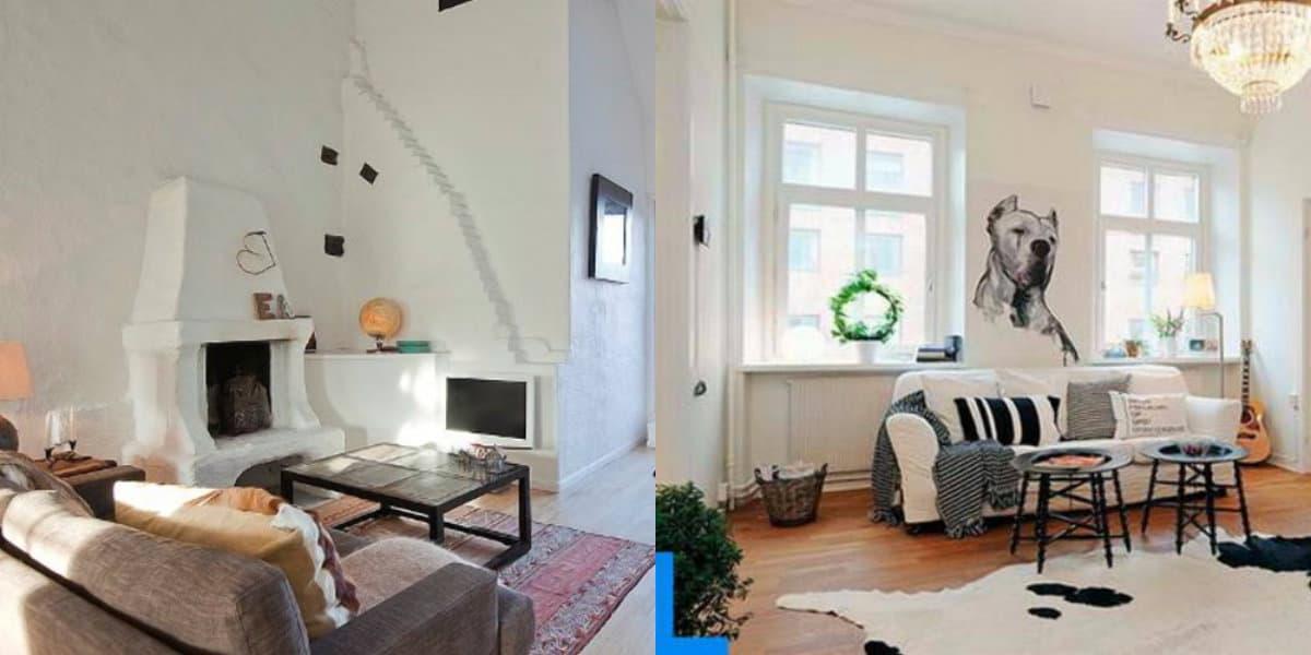 Скандинавский стиль в интерьере : гостиня