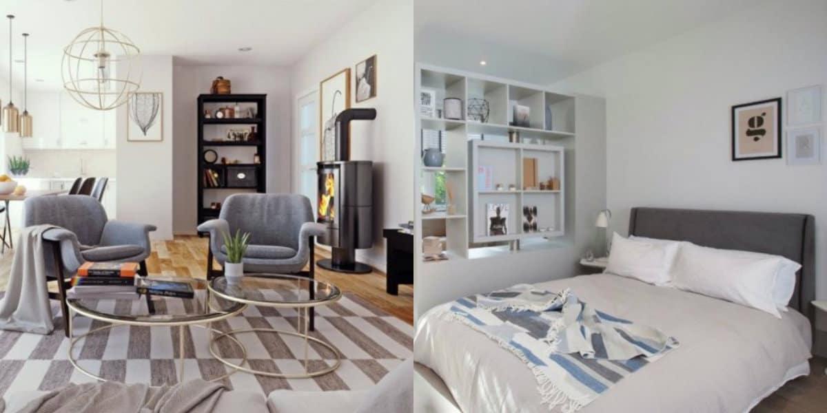 Скандинавский стиль в интерьере : спальня