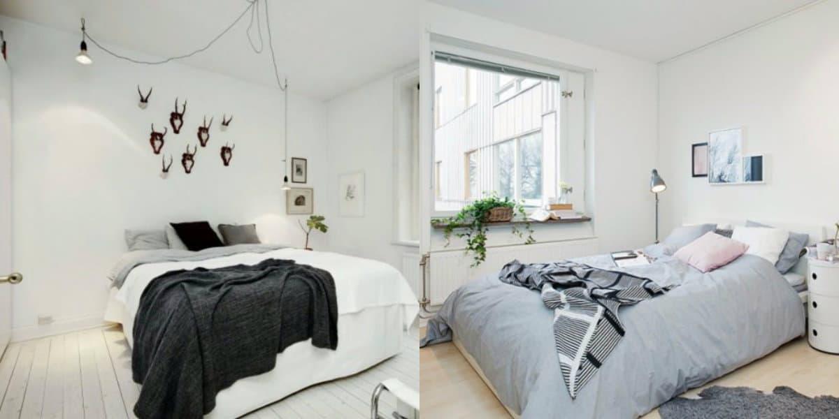 Спальня в скандинавском стиле: покрывало