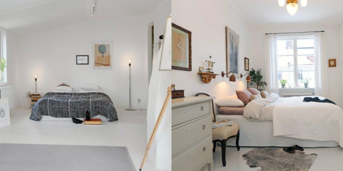 Спальня в скандинавском стиле: отделка стен