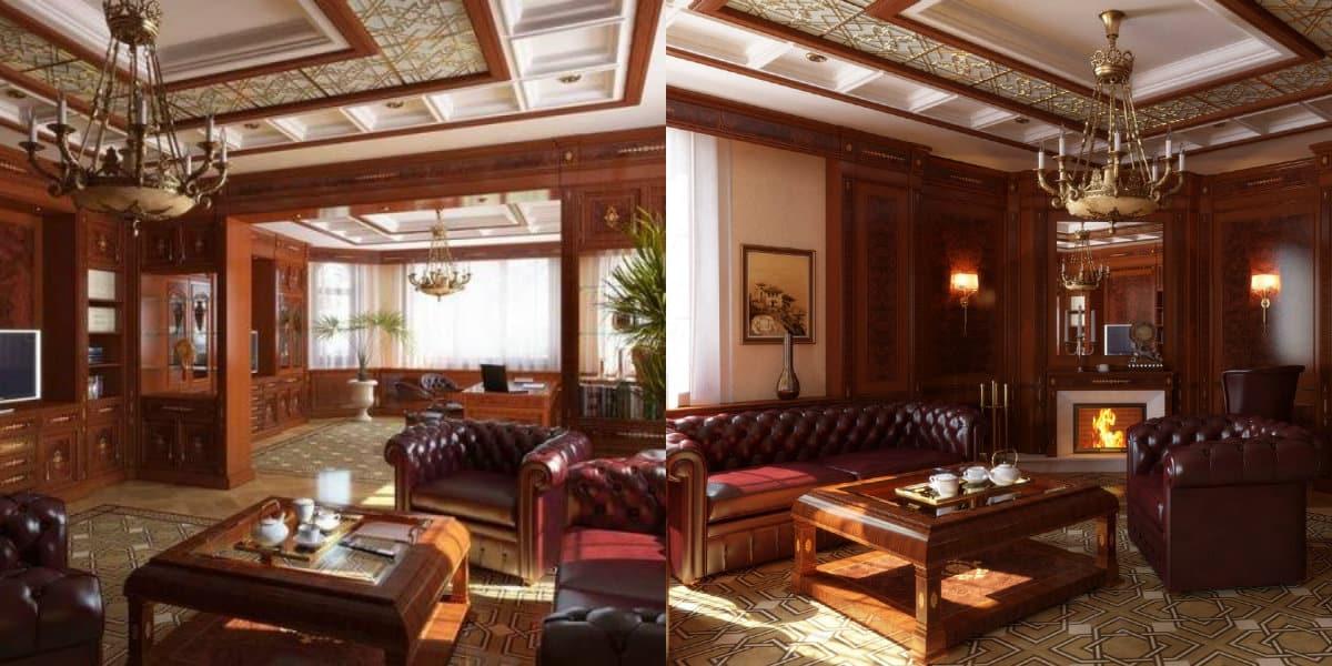 Гостиная в английском стиле: кожаная мягкая мебель