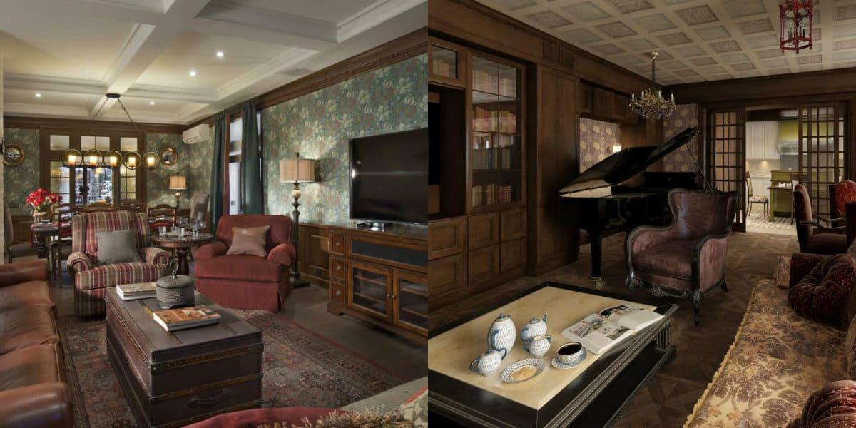Гостиная в английском стиле: потолки